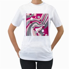 Magenta, pink and gray design Women s T-Shirt (White) (Two Sided)