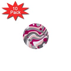 Magenta, pink and gray design 1  Mini Buttons (10 pack)