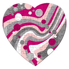 Magenta, pink and gray design Jigsaw Puzzle (Heart)