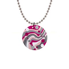 Magenta, pink and gray design Button Necklaces