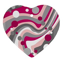 Magenta, pink and gray design Heart Ornament (2 Sides)