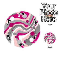 Magenta, pink and gray design Playing Cards 54 (Round)