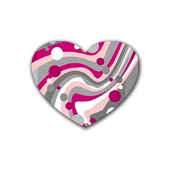 Magenta, pink and gray design Heart Coaster (4 pack)