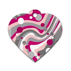 Magenta, pink and gray design Dog Tag Heart (One Side)