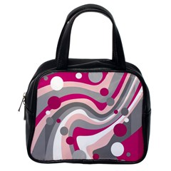 Magenta, pink and gray design Classic Handbags (One Side)