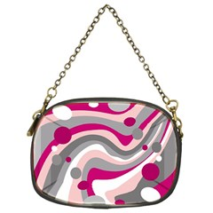 Magenta, pink and gray design Chain Purses (One Side)