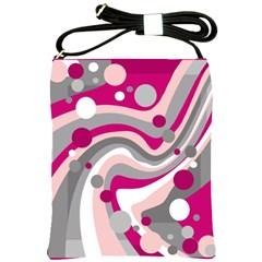 Magenta, pink and gray design Shoulder Sling Bags