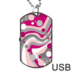 Magenta, pink and gray design Dog Tag USB Flash (Two Sides)