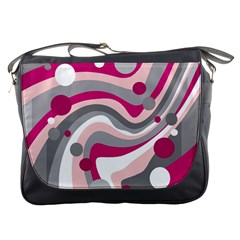Magenta, pink and gray design Messenger Bags