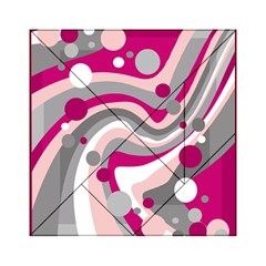 Magenta, pink and gray design Acrylic Tangram Puzzle (6  x 6 )