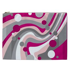 Magenta, pink and gray design Cosmetic Bag (XXL)