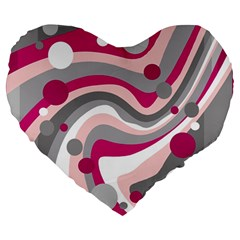 Magenta, pink and gray design Large 19  Premium Heart Shape Cushions