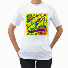 Music Women s T-Shirt (White) (Two Sided)