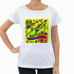 Music Women s Loose-Fit T-Shirt (White)