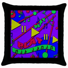 Music 2 Throw Pillow Case (Black)