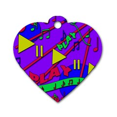 Music 2 Dog Tag Heart (One Side)