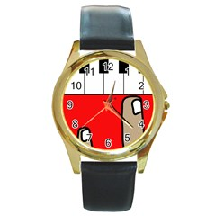 Piano  Round Gold Metal Watch