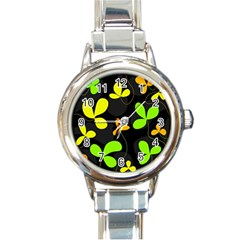 Floral design Round Italian Charm Watch