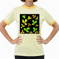 Floral design Women s Fitted Ringer T-Shirts