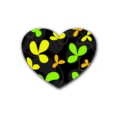 Floral design Rubber Coaster (Heart)