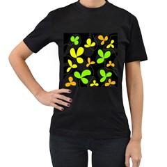Floral design Women s T-Shirt (Black)