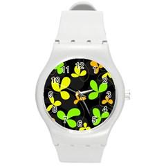 Floral design Round Plastic Sport Watch (M)