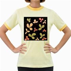 Elegant floral design Women s Fitted Ringer T-Shirts