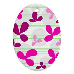 Magenta floral pattern Ornament (Oval)