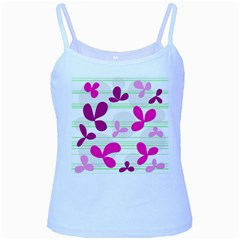 Magenta floral pattern Baby Blue Spaghetti Tank
