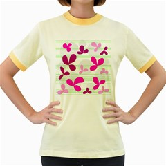 Magenta floral pattern Women s Fitted Ringer T-Shirts