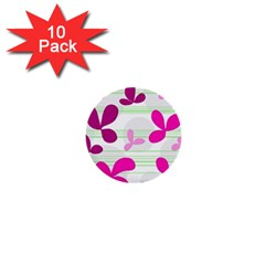 Magenta floral pattern 1  Mini Buttons (10 pack)