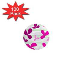 Magenta floral pattern 1  Mini Magnets (100 pack)
