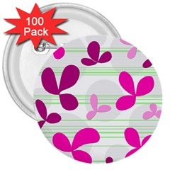 Magenta floral pattern 3  Buttons (100 pack)