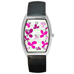 Magenta floral pattern Barrel Style Metal Watch