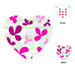 Magenta floral pattern Playing Cards (Heart)
