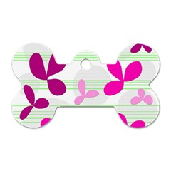 Magenta floral pattern Dog Tag Bone (One Side)