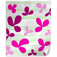 Magenta floral pattern Canvas 11  x 14