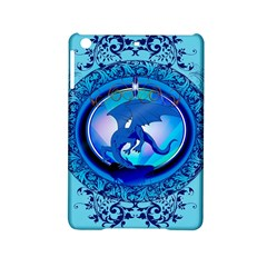 The Blue Dragpn On A Round Button With Floral Elements Ipad Mini 2 Hardshell Cases