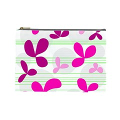 Magenta floral pattern Cosmetic Bag (Large)