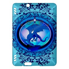 The Blue Dragpn On A Round Button With Floral Elements Kindle Fire Hdx Hardshell Case