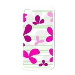 Magenta floral pattern Apple iPhone 4 Case (White)