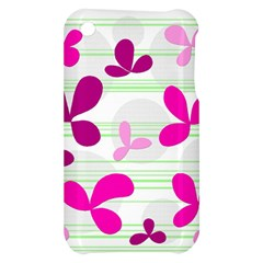Magenta floral pattern Apple iPhone 3G/3GS Hardshell Case
