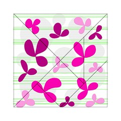 Magenta floral pattern Acrylic Tangram Puzzle (6  x 6 )