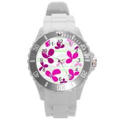 Magenta floral pattern Round Plastic Sport Watch (L)