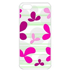Magenta floral pattern Apple iPhone 5 Seamless Case (White)