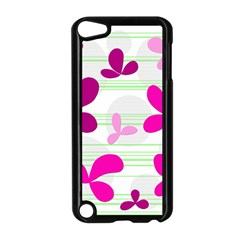 Magenta floral pattern Apple iPod Touch 5 Case (Black)