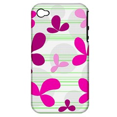 Magenta floral pattern Apple iPhone 4/4S Hardshell Case (PC+Silicone)