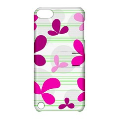 Magenta floral pattern Apple iPod Touch 5 Hardshell Case with Stand