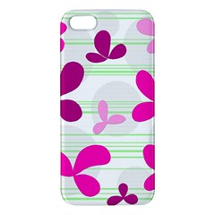 Magenta floral pattern Apple iPhone 5 Premium Hardshell Case