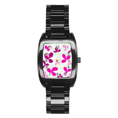 Magenta floral pattern Stainless Steel Barrel Watch